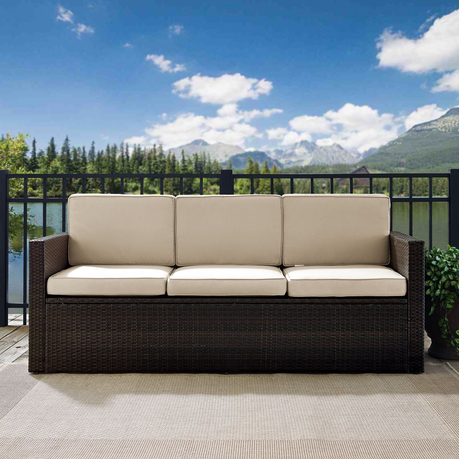 Picture of PALM HARBOR OUTDOOR WICKER SOFA IN BROWN WITH SAND