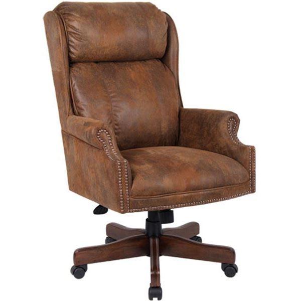 Picture of Centennial Oak Executive Chair - Tobacco Microfiber