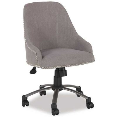 Picture of Linen Swivel Chair, Pewter