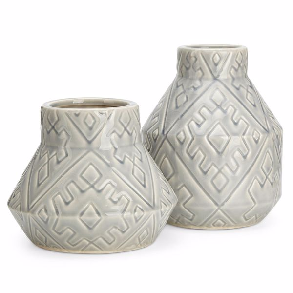 Picture of Set of 2 Grey Etched Vases