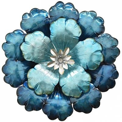 Picture of Blue Metal Flower Wall Decor