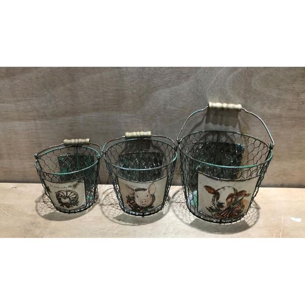 Picture of Set of Three Metal Farm Animal Baskets
