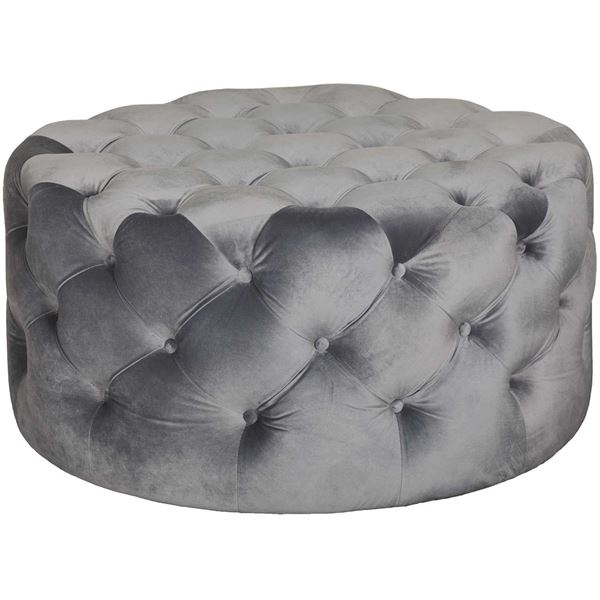 Olivia Tufted Gray Large Round Ottoman Jip 6052gy Ot Condor