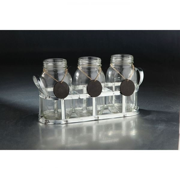 Picture of Set of Three Jars in Metal Holder