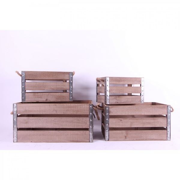 Picture of Set of 4 Wooden Storage Boxes