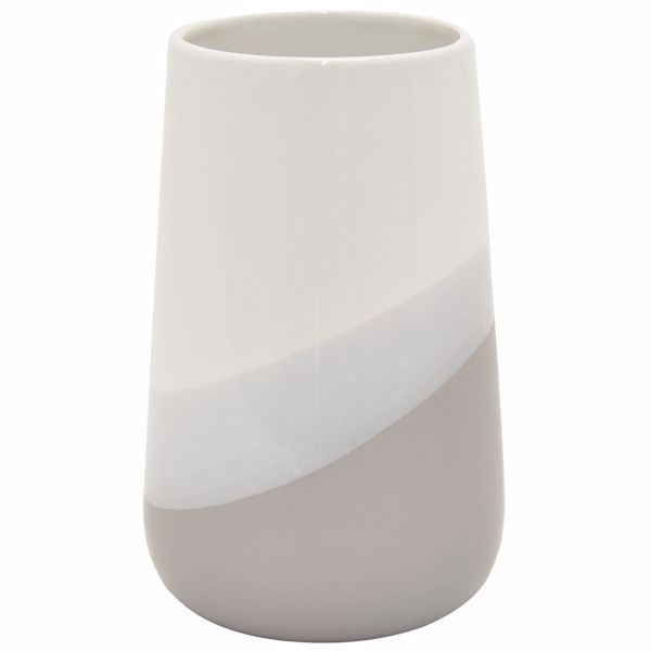 Picture of Wide Mouth Ivory and Grey Ceramic Vase
