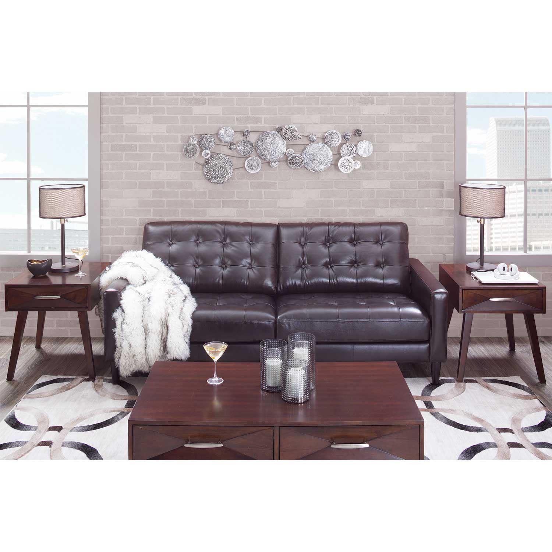 Ashton Dark Brown Leather Loveseat As 5957br Dbrn 2