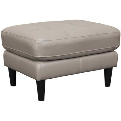 Picture of Ashton Grey Leather Ottoman