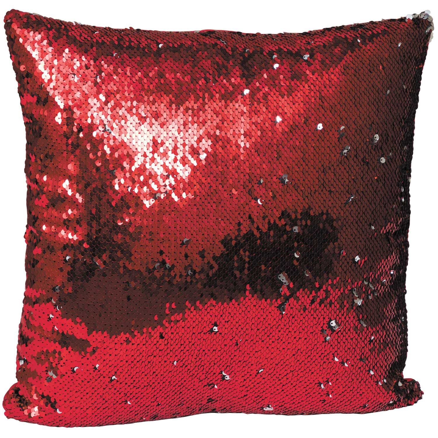 Picture Of Red To Silver 16 Inch Sequin Decorative Pillow P