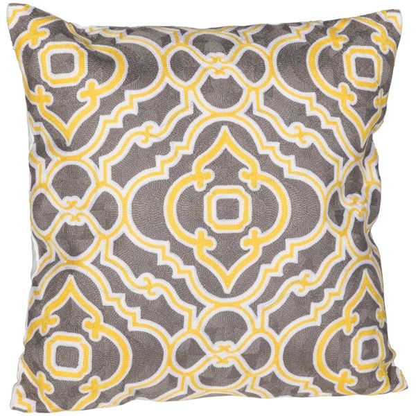 Picture of Yellow Chateau Medallion 18 Inch Decorative Pillow *P