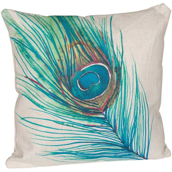 Picture of Peacock Feather 18 Inch Decorative Pillow *P