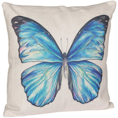 Picture of Blue Butterfly 18 Inch Decorative Pillow *P