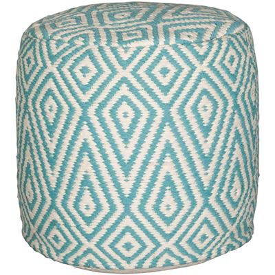 Picture of Shell Diamond Pouf in Cream and Teal