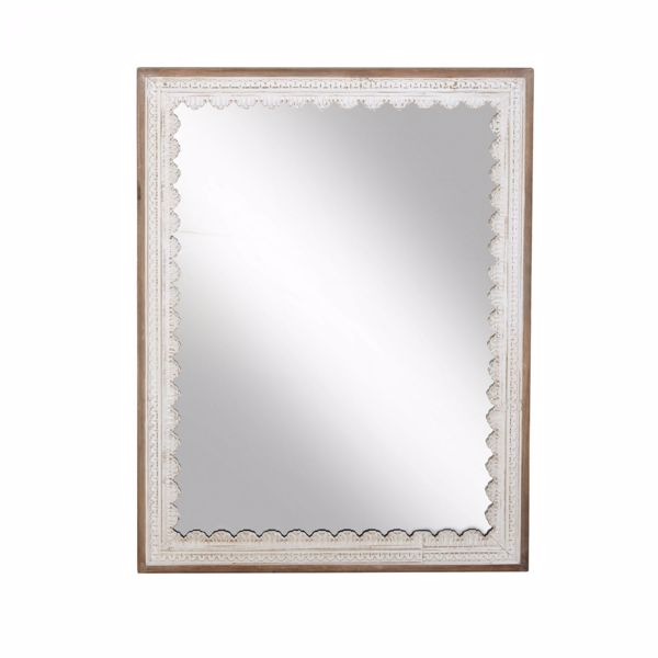 Picture of White Wood Wall Mirror