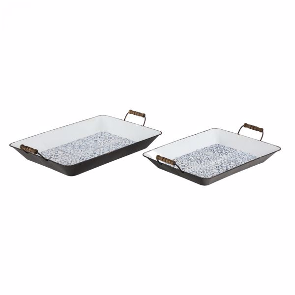 Picture of Set of 2 Rectangular Metal Trays