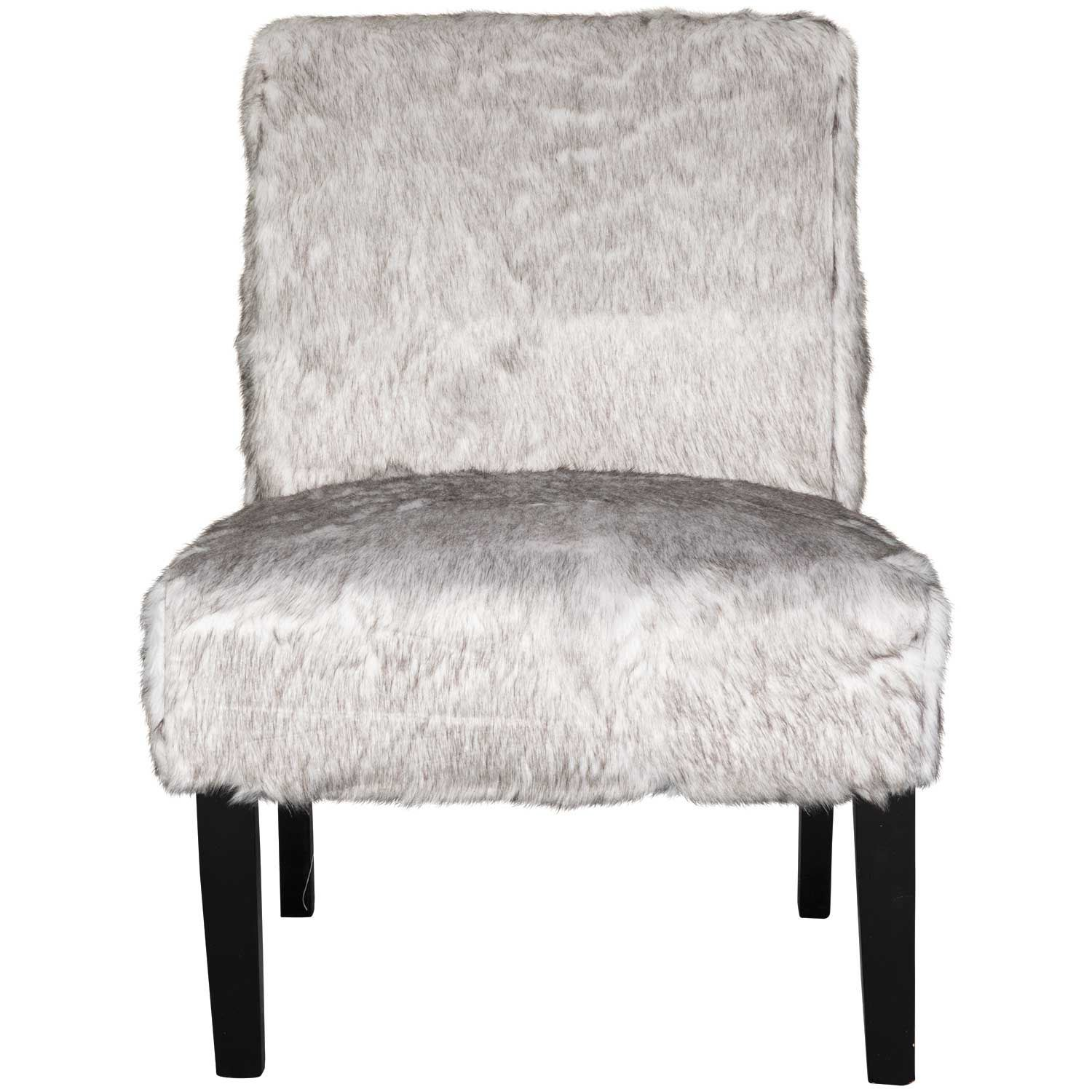 Picture of mongolian faux fur gray armless chair