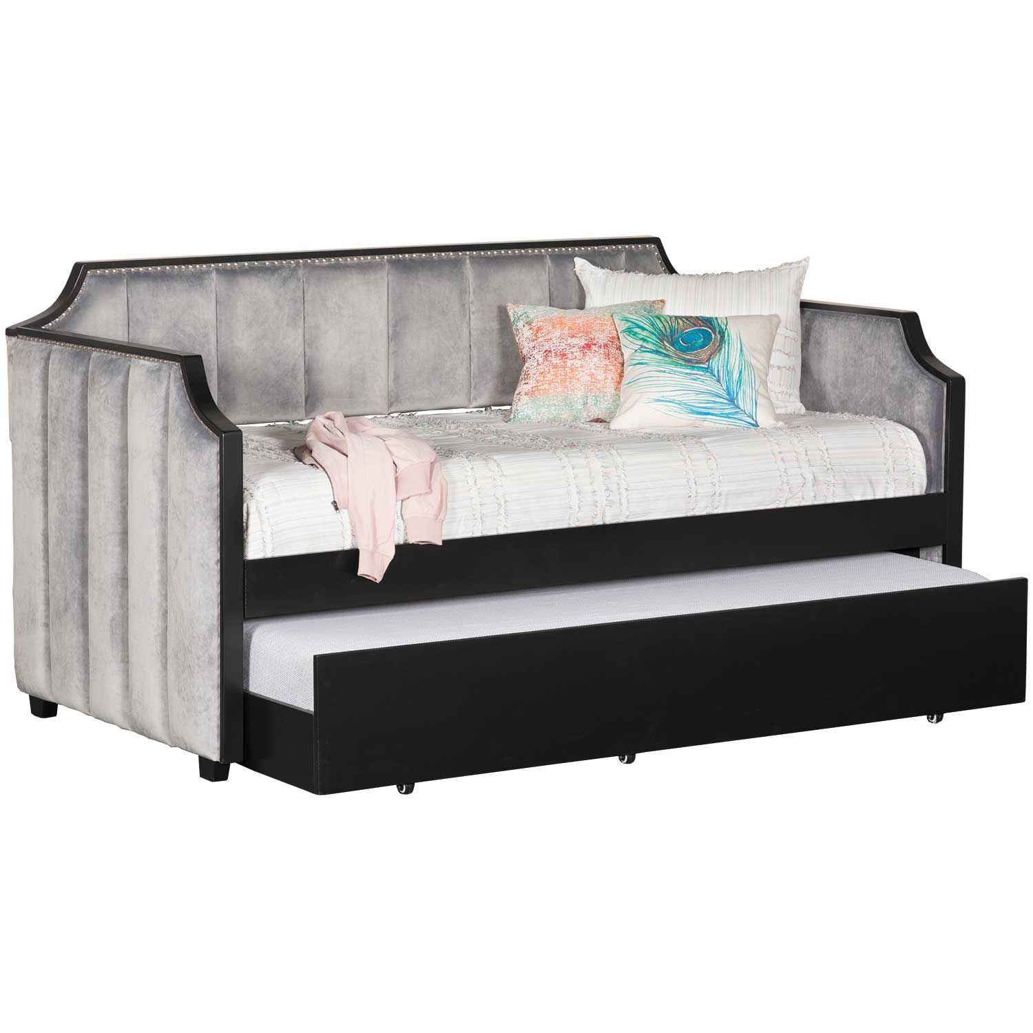 Upholstered Grey Velvet Day Bed With Trundle