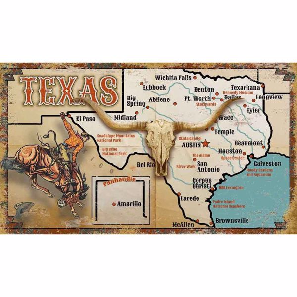 Picture of Texas Map Rustic Wood Sign