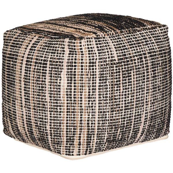 Picture of Belit Black and Beige Hand Woven Wool Pouf