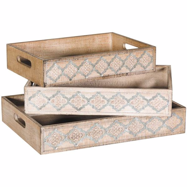 Picture of Wood and Metal Trays, Set of Three