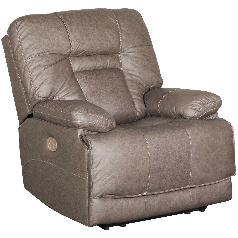 Wustrow Umber Italian Leather Power Reclining Sofa: Wurstrow Smoke Italian Leather Power Recliner