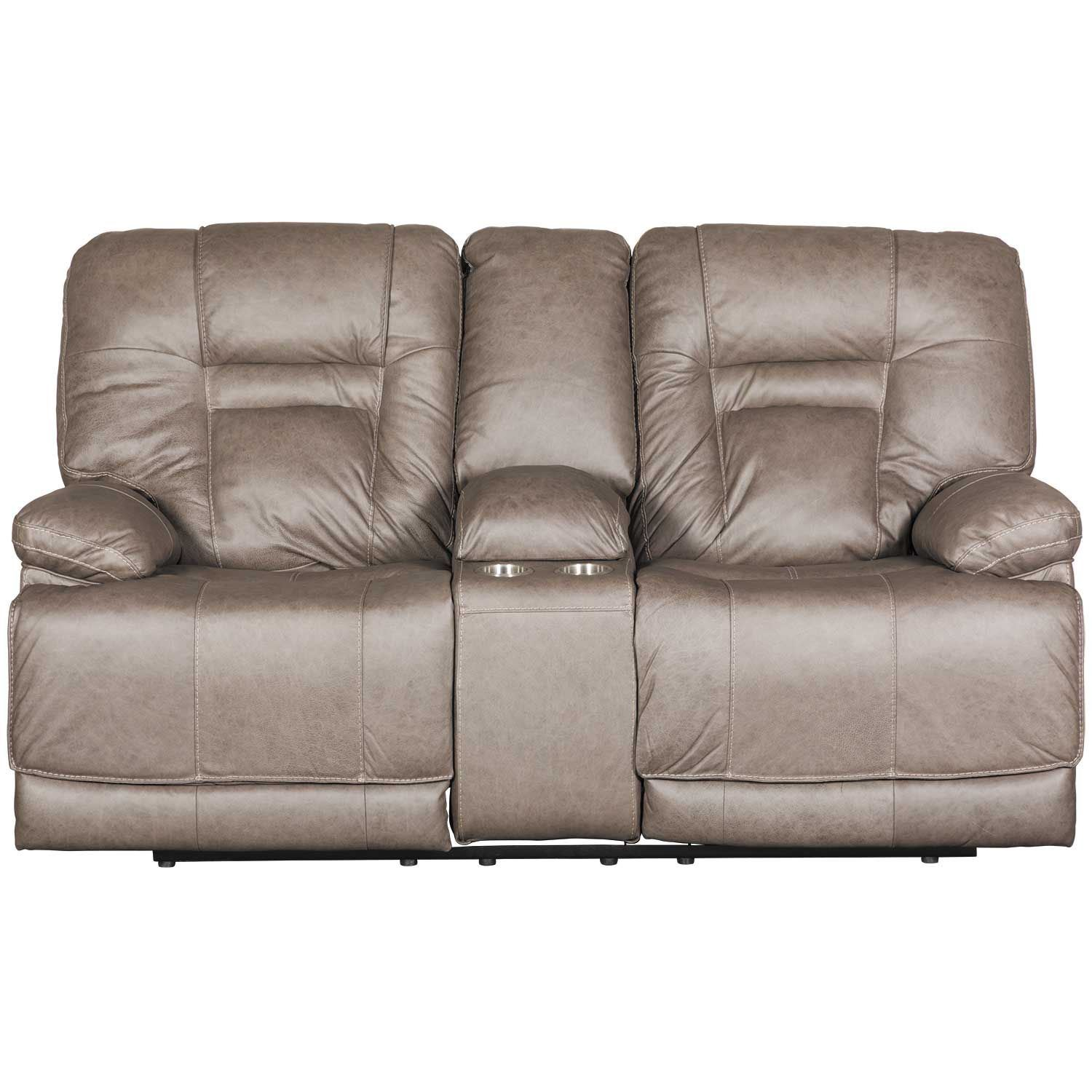 Wurstrow Smoke Italian Leather Power Reclining Loveseat