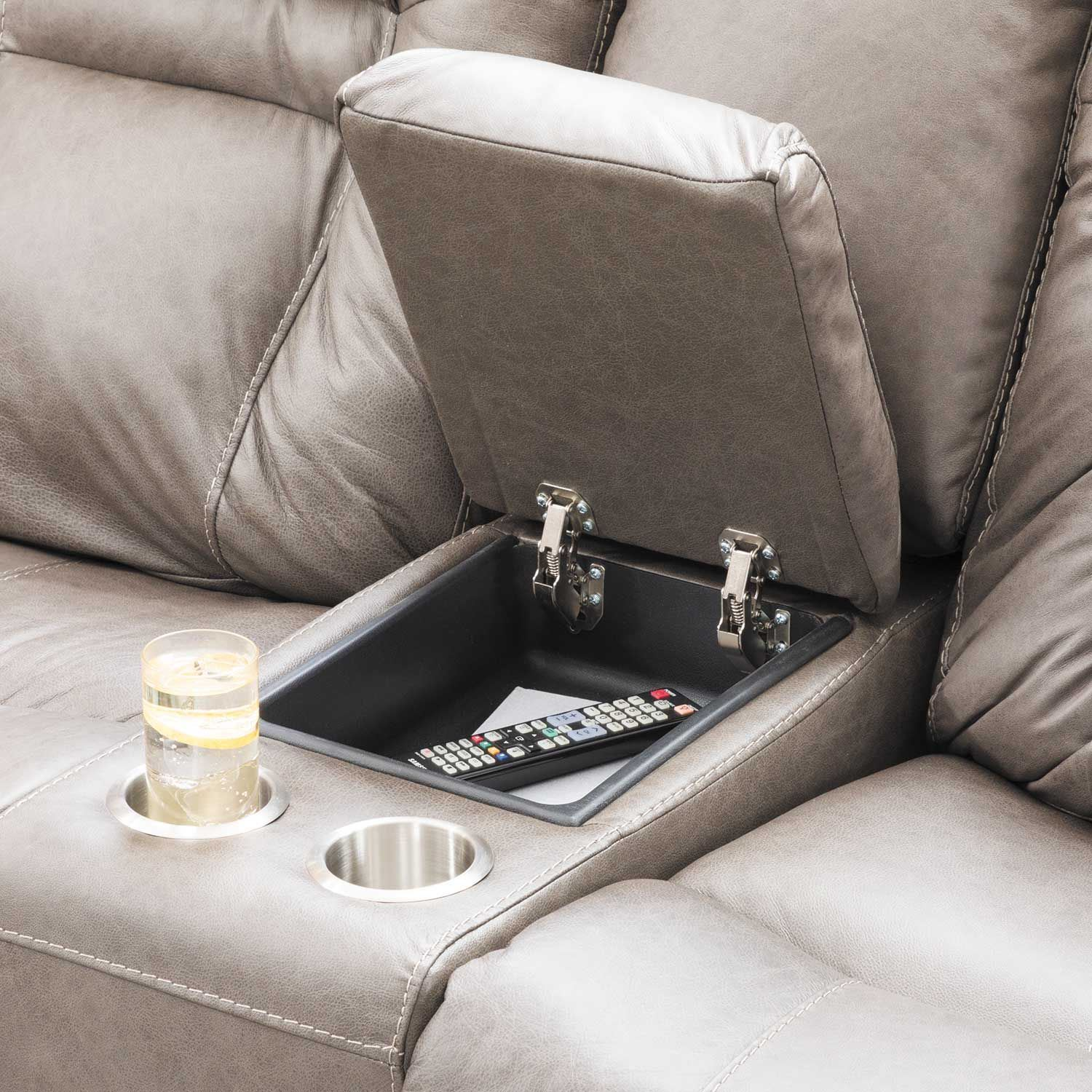 Picture of Wurstrow Smoke Italian Leather Power Reclining Loveseat