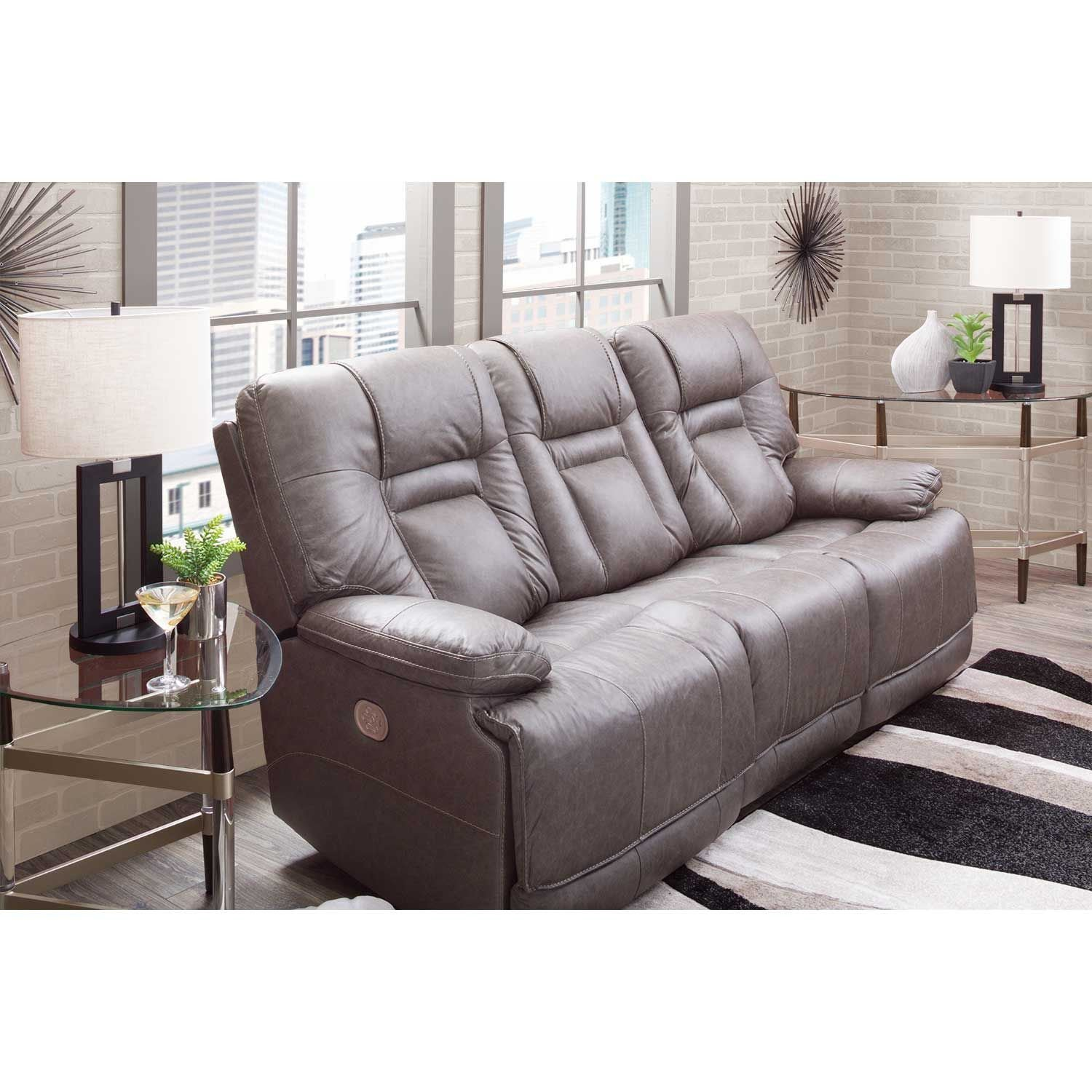 Picture of Wurstrow Smoke Italian Leather Power Reclining Sofa