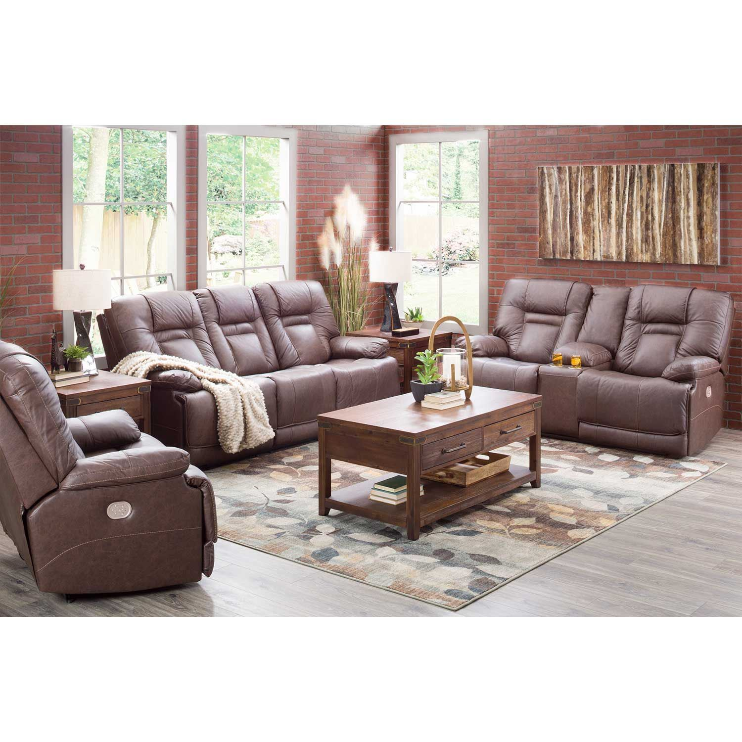 Picture of Wurstrow Umber Italian Leather Power Reclining Loveseat