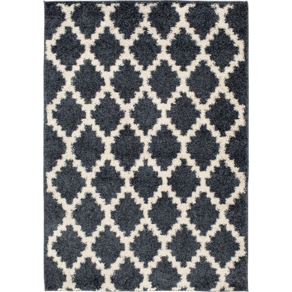 Picture of Blue Shaggy Pattern 5x7 Rug