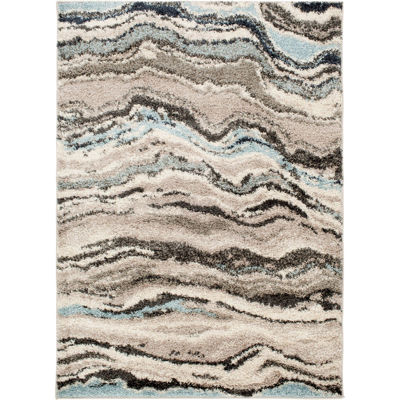 Picture of Gray Teal Shaggy Wave 5x7 Rug