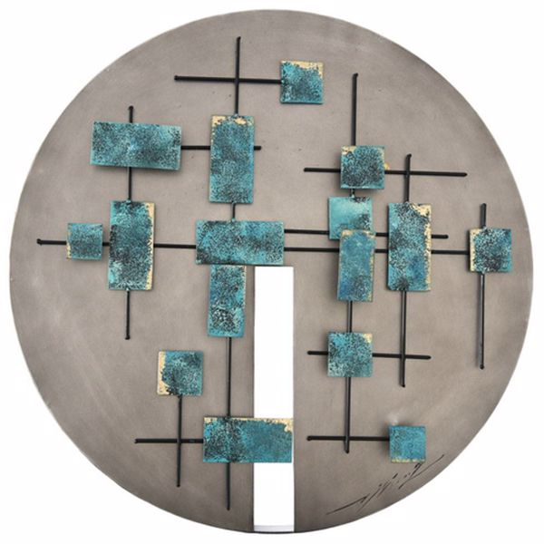 Picture of Round Metal Wall Decor With Blue Accents