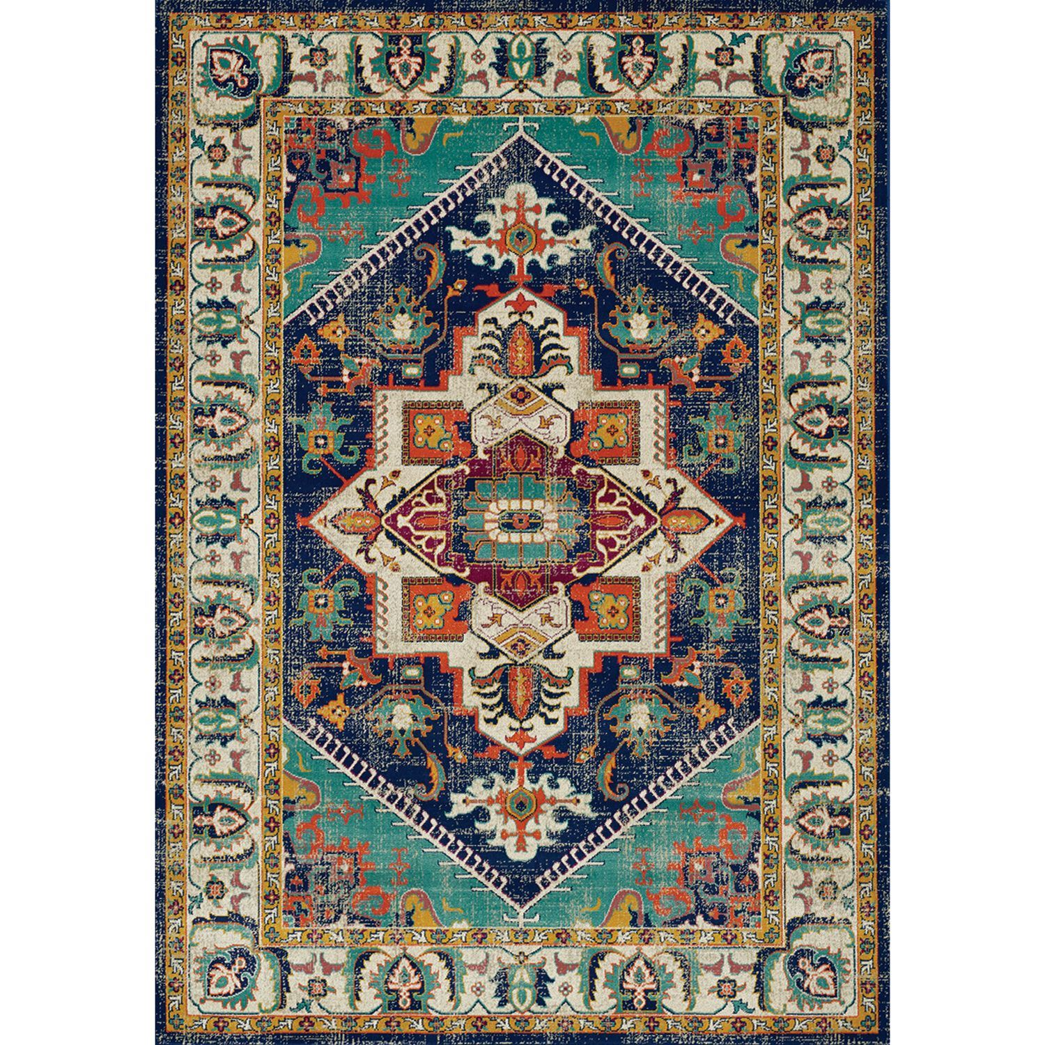 Topaz Navy Multi Traditional 5x8 Rug