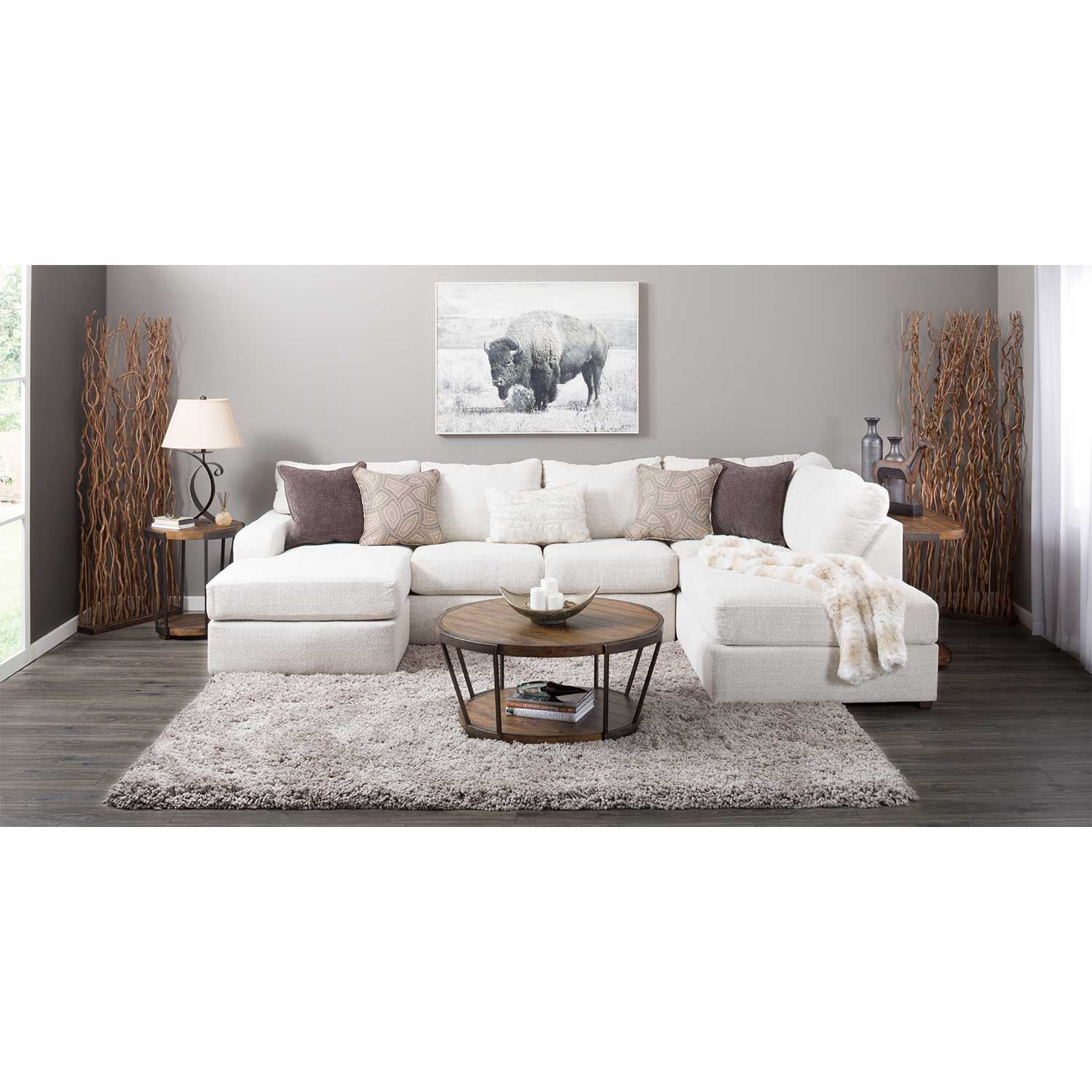 Amplify Beige 2 Piece Laf Sofa Chaise Sectional 8011 Laf