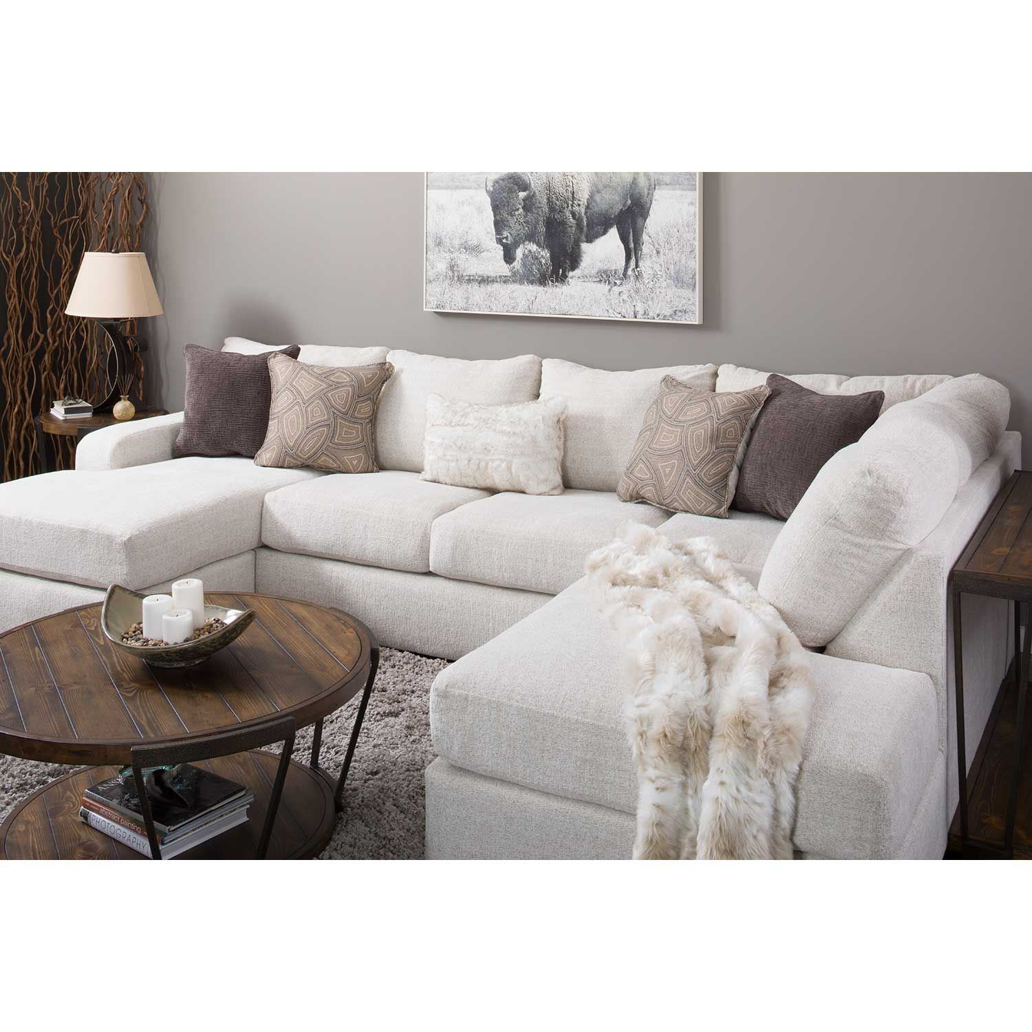 Amplify Beige 2 Piece LAF Sofa Chaise Sectional