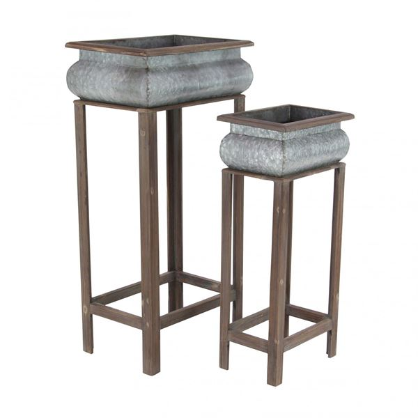 Picture of Set of 2 Metal Planter-Wood Stand