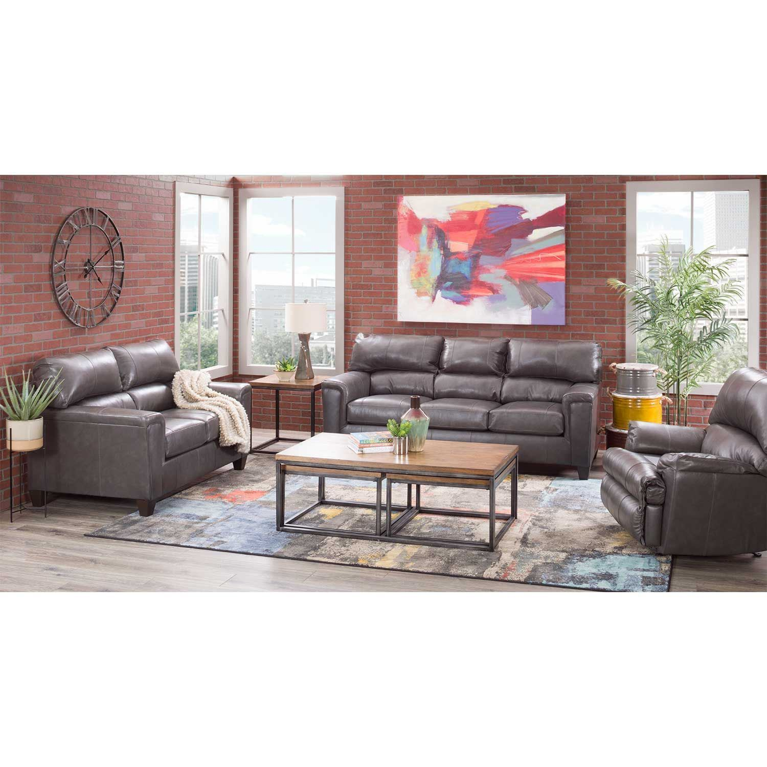 Picture of Graham Fog Leather Sofa