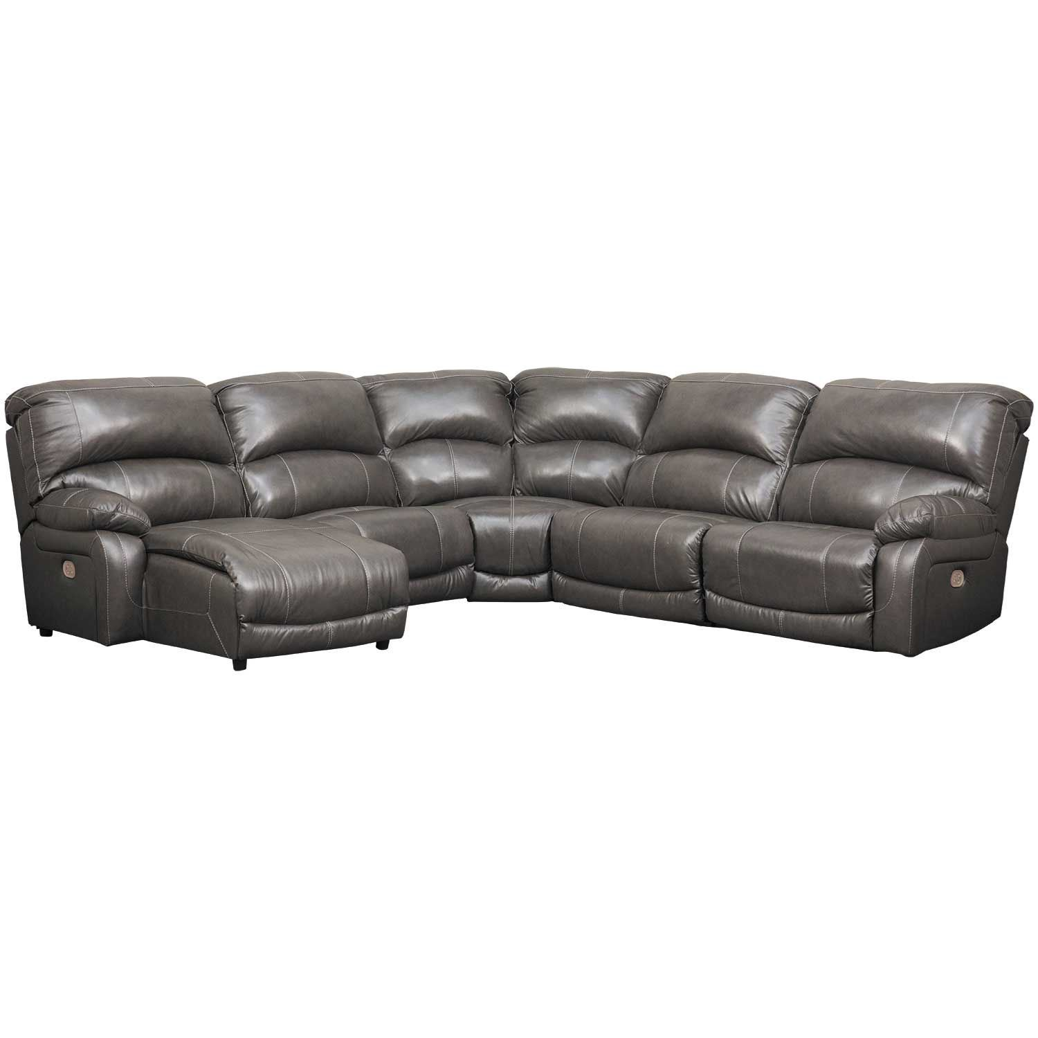 5pc Leather Power Recline Sectional W Laf Chaise U52403621977