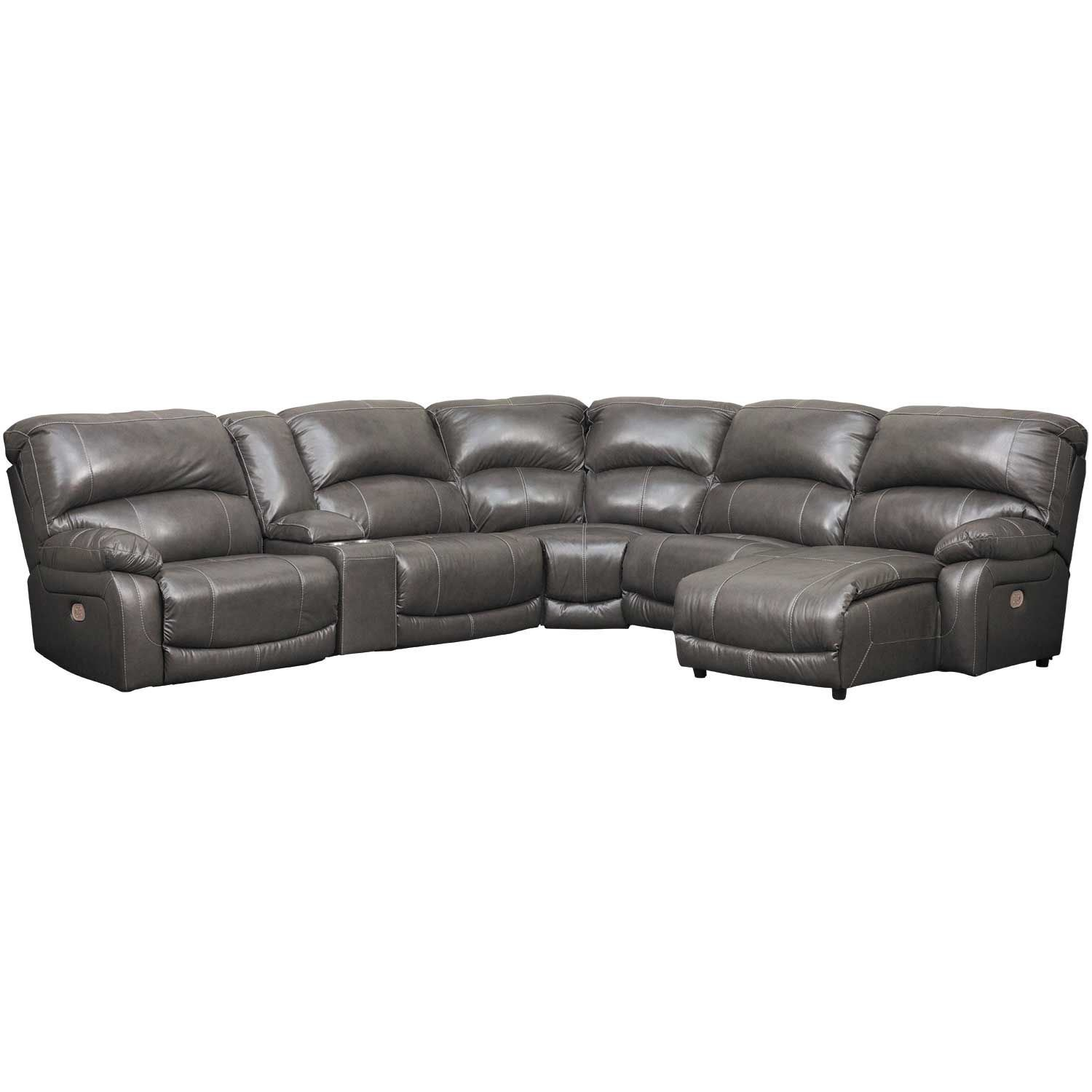 6pc Leather Power Recline Sectional W Raf Chaise U524043585719