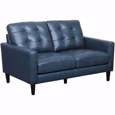 Picture of Ashton Navy Leather Loveseat