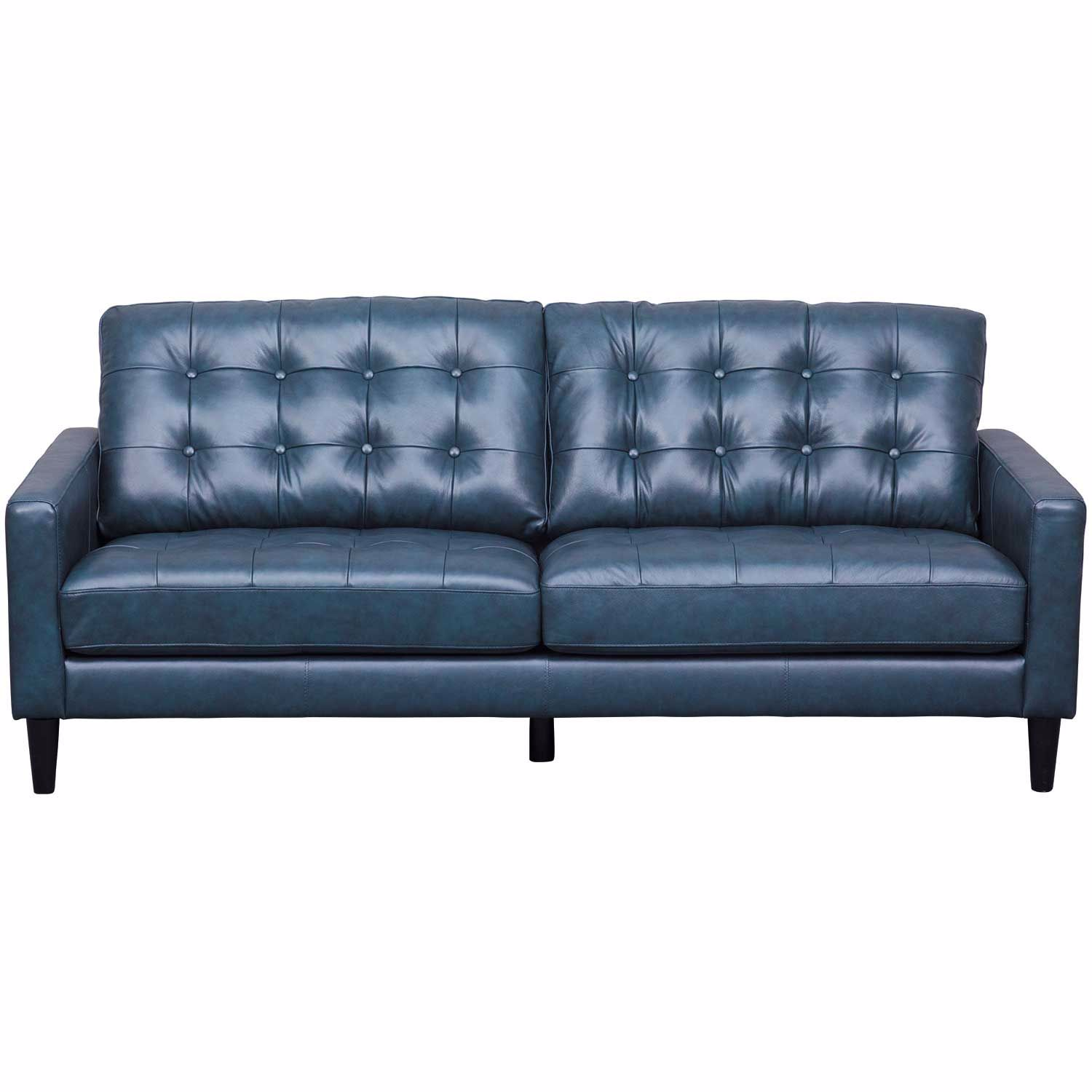 Leather Couch: Ashton Navy Leather Sofa