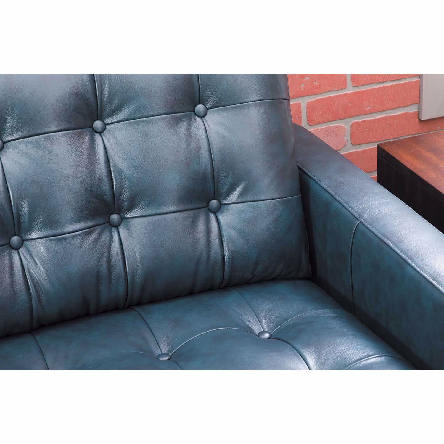 Ashton Navy Leather Sofa