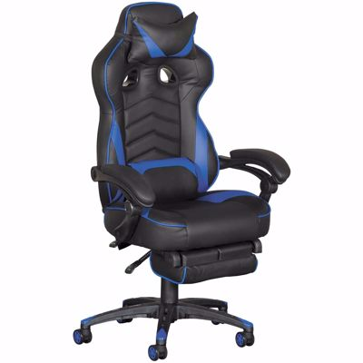 Picture of Revolution Blue Gaming Chair with Footrest