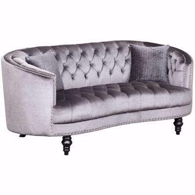Picture of Marilyn Tufted Gray Loveseat