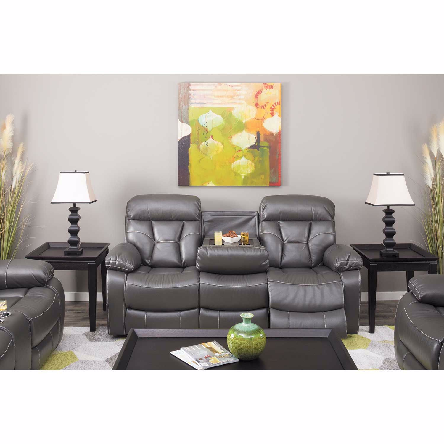Picture of Peoria Gray Power Reclining Console Loveseat