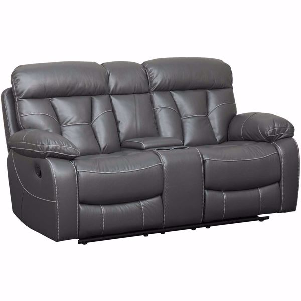 Picture of Peoria Gray Reclining Console Loveseat
