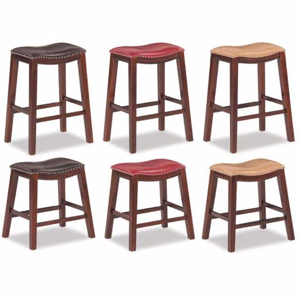 "Picture of Red 24"" Padded Saddle Stool"
