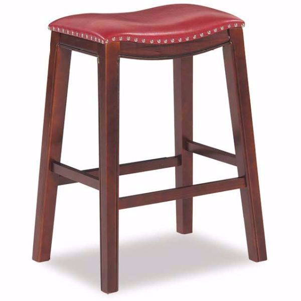 """Picture of Red 30"""" Padded Saddle Stool"""