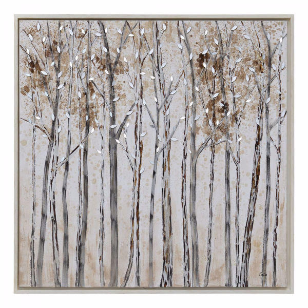 Picture of Winter Painted Canvas Mirror 50x50