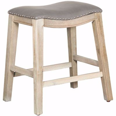 "Picture of Ryland Grey 24"" Padded Saddle Stool"